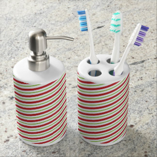 Candy Cane Stripes Christmas Holiday Soap Dispenser And Toothbrush Holder