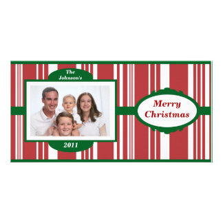 Candy Cane Stripes Family Photo Christmas Card Picture Card