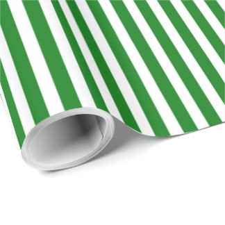Candy Cane Stripes in Christmas Green & Snow White Wrapping Paper