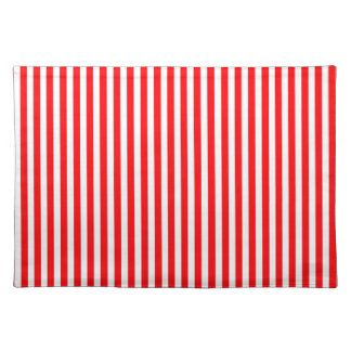 Candy Cane Stripes in Christmas Red and Snow White Cloth Place Mat