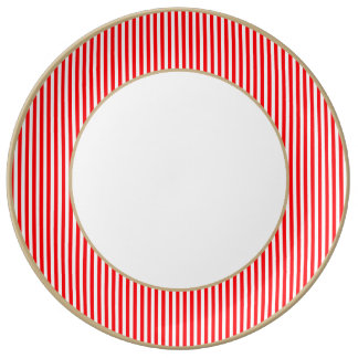 Candy Cane Stripes in Christmas Red and Snow White Porcelain Plates