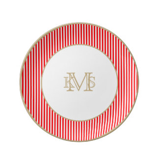 Candy Cane Stripes in Christmas Red and Snow White Porcelain Plate