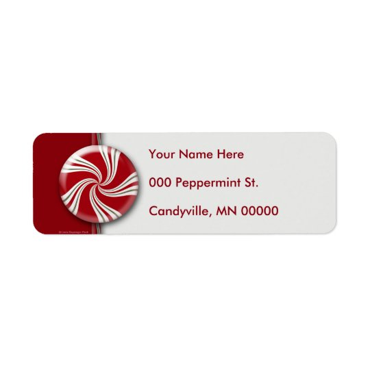 Candy Cane Stripes Peppermint Round Return Address Label
