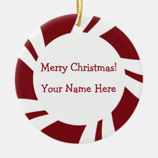 Candy Cane Stripes Red White Border Christmas Ornament