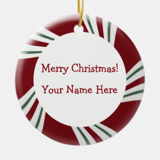 Candy Cane Stripes Red White Green Border Christmas Ornament