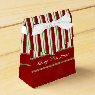 Candy Cane Stripes Rich Red and Bow Favour Box