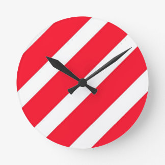 Candy Cane Stripes Round Clock