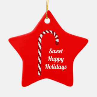 Candy Cane Sweet Happy Holidays Star Ornament