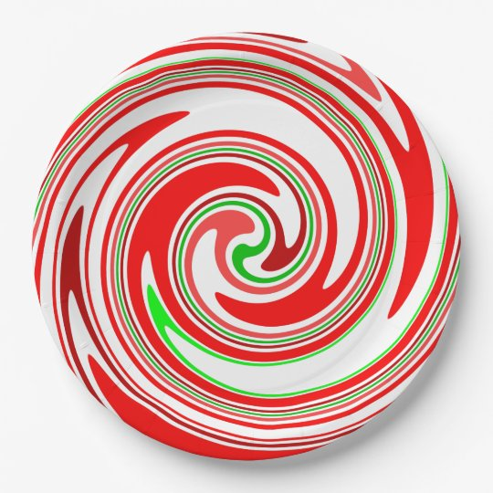 Candy Cane Swirl Red White Green Festive Paper