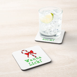 Candy Cane Wanna Lick Beverage Coaster
