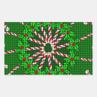 Candy Cane Weave Rectangular Sticker