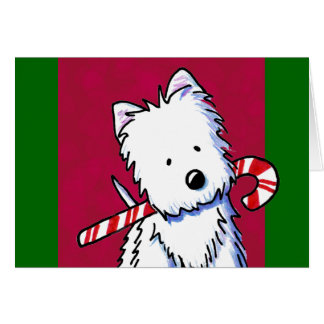 Candy Cane Westie Christmas Card
