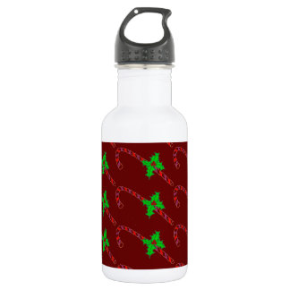 Candy Cane with Holly on Water Bottle 532 Ml Water Bottle