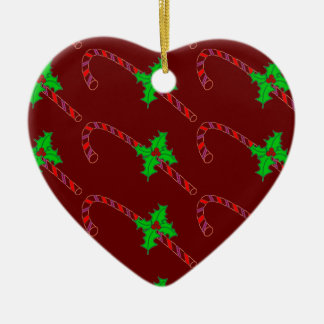 Candy Cane with Holly Stickers Ceramic Heart Decoration