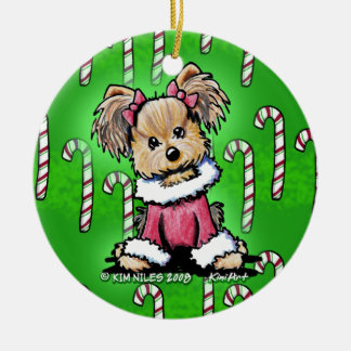 Candy Cane Yorkie Terrier Ornament