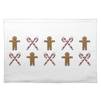 Candy Canes and Gingerbread Men Place Mats