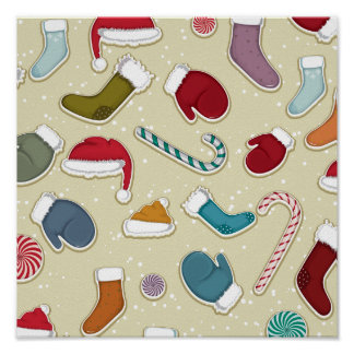 Candy Canes and Mittens Print