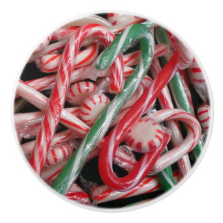 Candy Canes and Peppermints Christmas Holiday Ceramic Knob