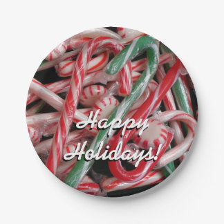 Candy Canes and Peppermints Christmas Holiday Paper Plate