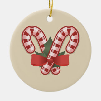 Candy Canes and Poinsettias Christmas Ornament