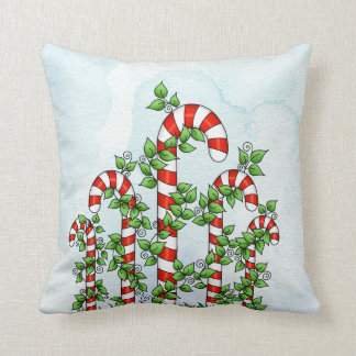 Candy Canes and Vines Christmas Pillow