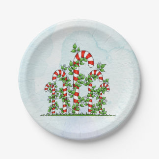 Candy Canes and Vines Christmas Plate