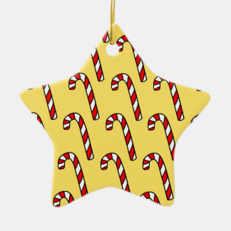 Candy Canes Ceramic Star Decoration