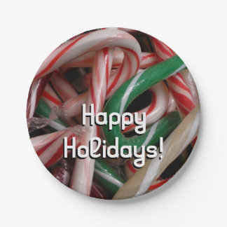 Candy Canes Christmas Holiday White Green and Red Paper Plate