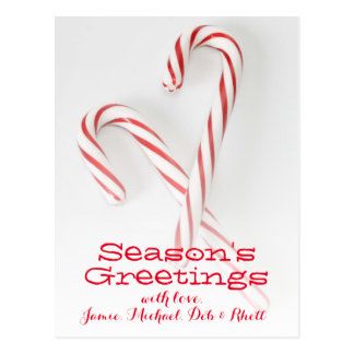 Candy canes crossing postcard