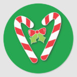 Candy Canes for Christmas Round Sticker