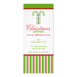 Candy Canes green Christmas Dinner Invitation