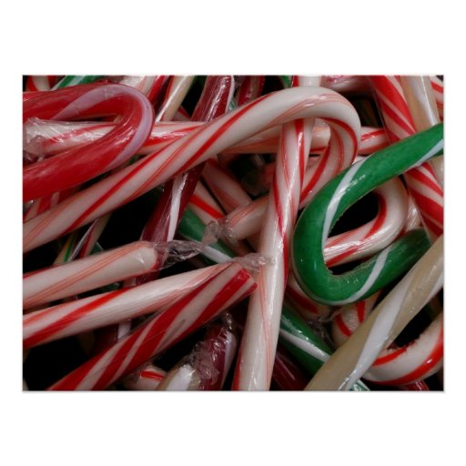 Candy Canes Holiday Poster Print