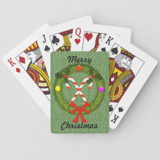 Candy Canes in Wreath Christmas Playing Cards