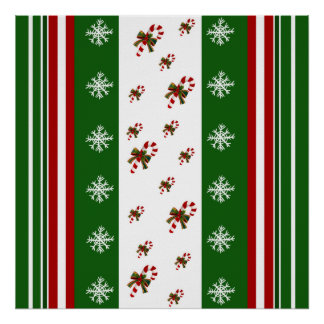 Candy Canes & Peppermint Stripes Poster