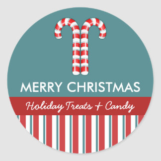 Candy Canes red Candy Gift Jar Round Label