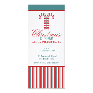 Candy Canes red Christmas Dinner Invitation
