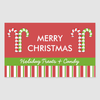 Candy Canes red green Candy Gift Jar Label Rectangular Sticker