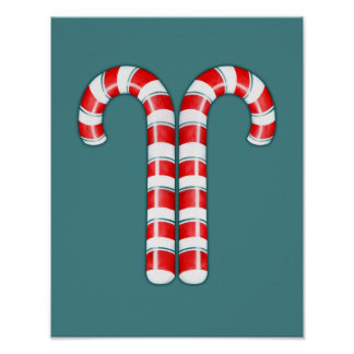 Candy Canes red Poster
