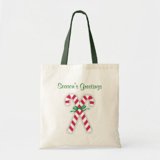 Candy Canes Season's Greetings Tote Bag