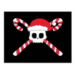 Candy Canes Skull Santa Hat Christmas Post Cards