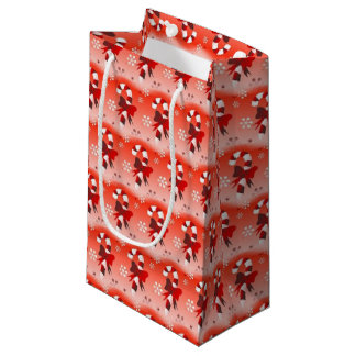 Candy Canes w/Orange Background Small Gift Bag