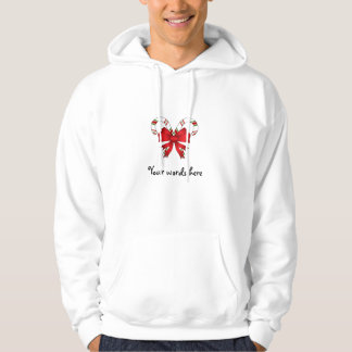 Candy canes with red ribbon hooded sweatshirts