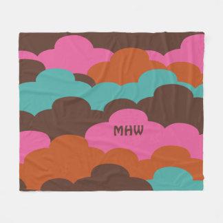 Candy Clouds custom monogram fleece blanket
