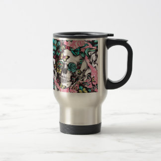 Candy coated girly butterfly rose skull. travel mug