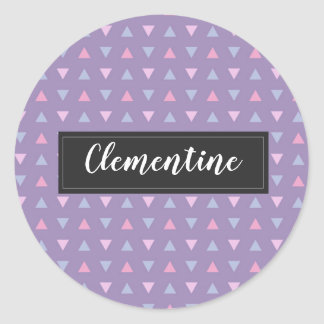 Candy Colour Triangle Pattern Classic Round Sticker