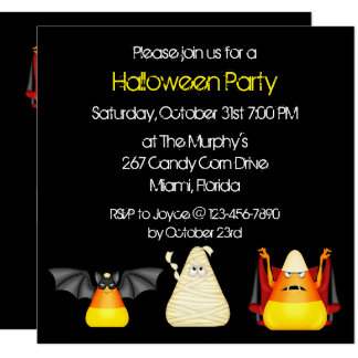 Candy Corn Bat Dracula Mummy Halloween 13 Cm X 13 Cm Square Invitation Card