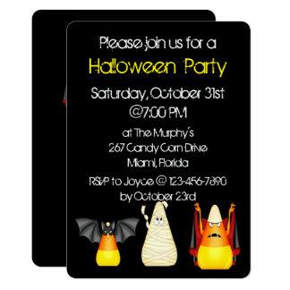 Candy Corn Bat Dracula Mummy Halloween 13 Cm X 18 Cm Invitation Card