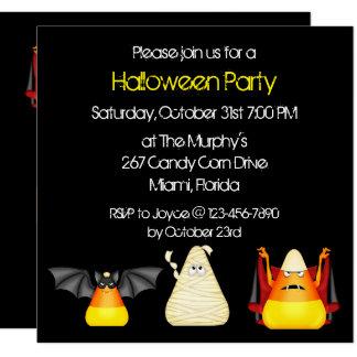 Candy Corn Bat Dracula Mummy Halloween Card
