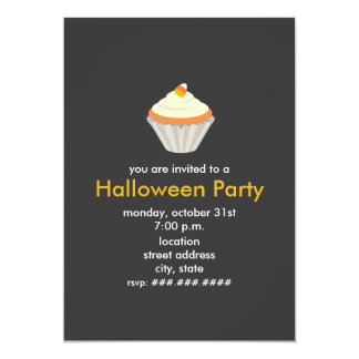 Candy Corn Cupcake Halloween Party Invite