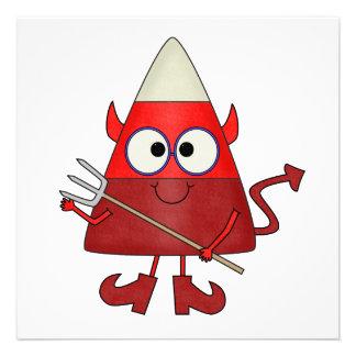 Candy Corn Devil Halloween Personalized Invites